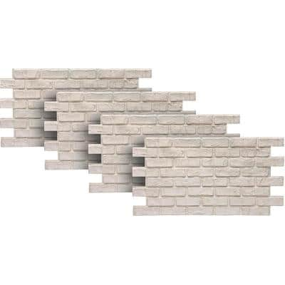 White 24 in. x 46-3/8 in. Faux Used Brick Panel (4-Pack)