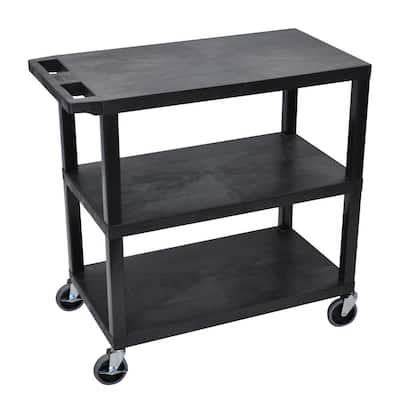 EC 35.25 in. W x 18 in. D x 34.5 in. H 3-Flat Shelf Utility Cart in Black