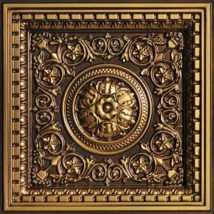 Rhine Valley 2 ft. x 2 ft. PVC Lay-in Ceiling Tile in Antique Gold