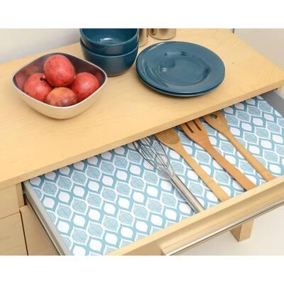 Grip Prints Savory Teal Blue Shelf and Drawer Liner (Set of 4)