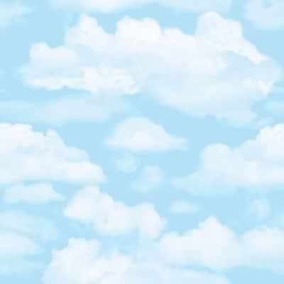 Cloud Nine Blue/White Paper Peelable Wallpaper (Covers 56 sq. ft.)