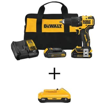ATOMIC 20-Volt MAX Cordless Brushless Compact 1/2 in. Hammer Drill Kit w/20V MAX Compact Lithium-Ion 4.0Ah Battery Pack