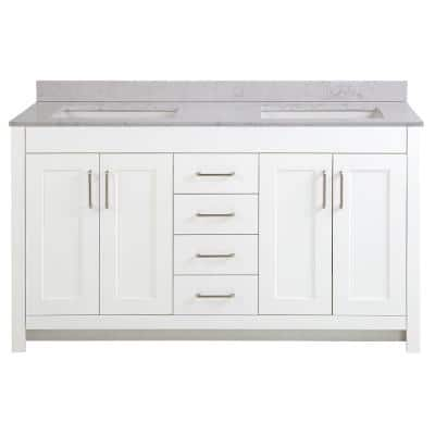 Westcourt 61 in. W x 22 in. D Bath Vanity in White with Stone Effect Vanity Top in Pulsar with White Sink