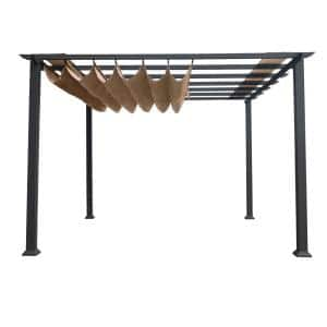 Florence 11 ft. x 11 ft. Grey Aluminum Structure Pergola with Cocoa Canopy