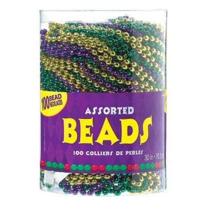 Green, Purple and Gold Plastic Mardi Gras Bead Necklaces (100-Count)