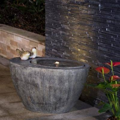 25 in. L Polyresin Spring Birds Outdoor Fountain With Pump and LED Light (KD)