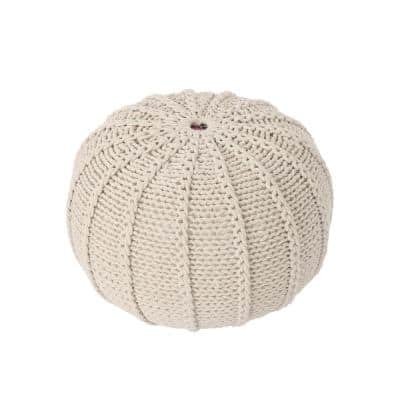 Corisande Beige Knitted Cotton Pouf