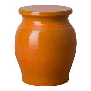 Koji Orange Indoor/Outdoor Ceramic 22 in. Garden Stool
