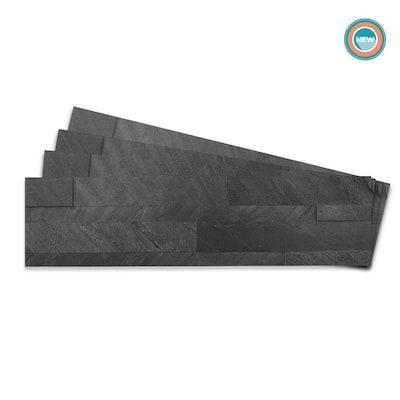 4-sheets Dark Gray 24 in. x 6 in. Peel, Stick Self-Adhesive Decorative 3D Stone Tile Backsplash (3.87 sq.ft. / pack)