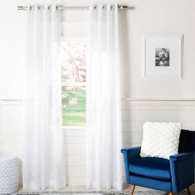 White Geometric Grommet Sheer Curtain - 52 in. W x 84 in. L