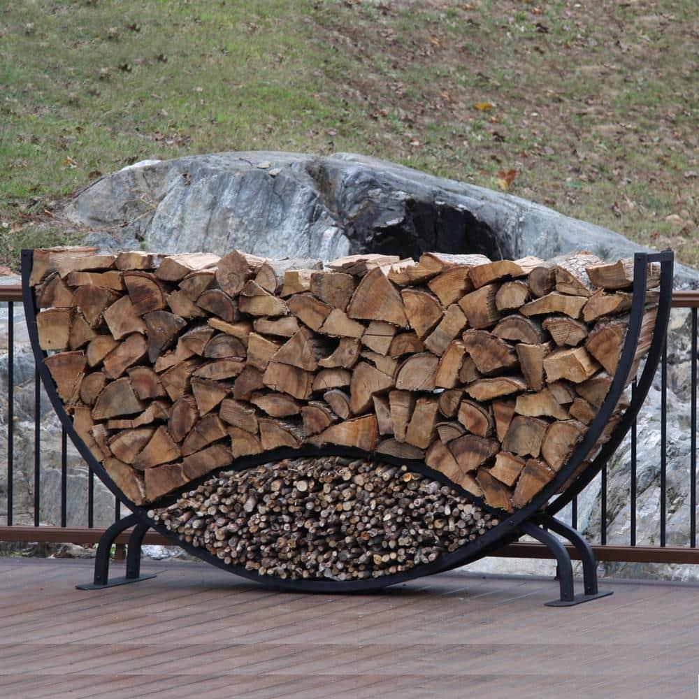 Shelterit Shelterit 8 Ft Firewood Log Rack With Kindling Wood Holder Rounded 21218 The Home Depot