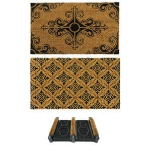 Rubber-Cal ''French Provincial Doormat Kit'' - 2 Coir Front Doormats and 1 Boot Scraper