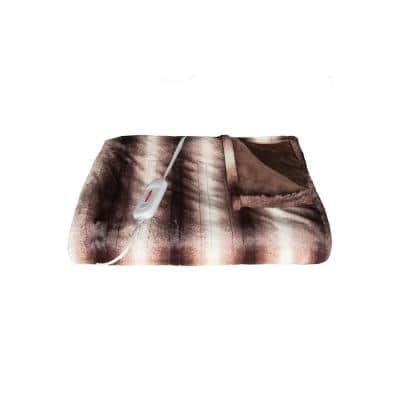 50 in. x 60 in. Faux Fur Brown/White Heated Throw