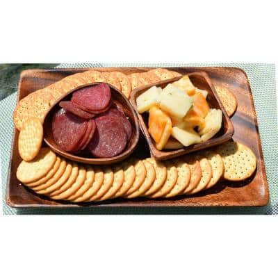 4 in. 6-Piece Wooden 3-Sided Dip and Nut Bowl Set
