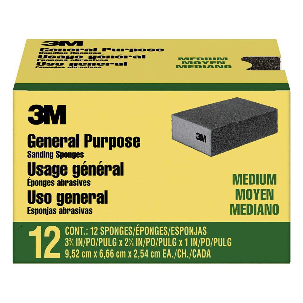 3-3/4 in. x 2-5/8 in. x 1 in. Sanding Sponge Medium Grit (12-Pack)