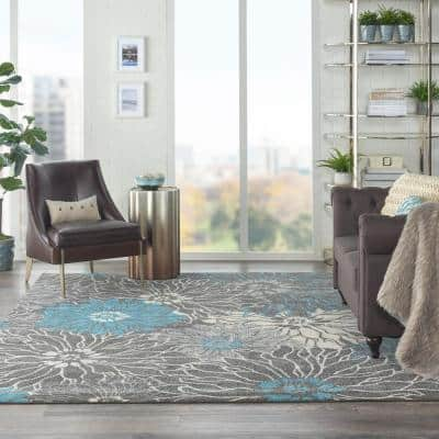 Passion Charcoal/Blue 8 ft. x 10 ft. Floral Modern Area Rug