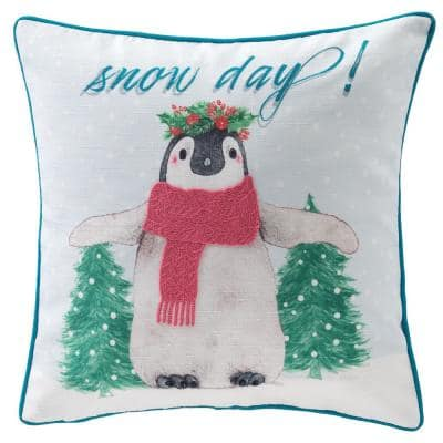 18 in. Snow Day Penguin Holiday Square Pillow