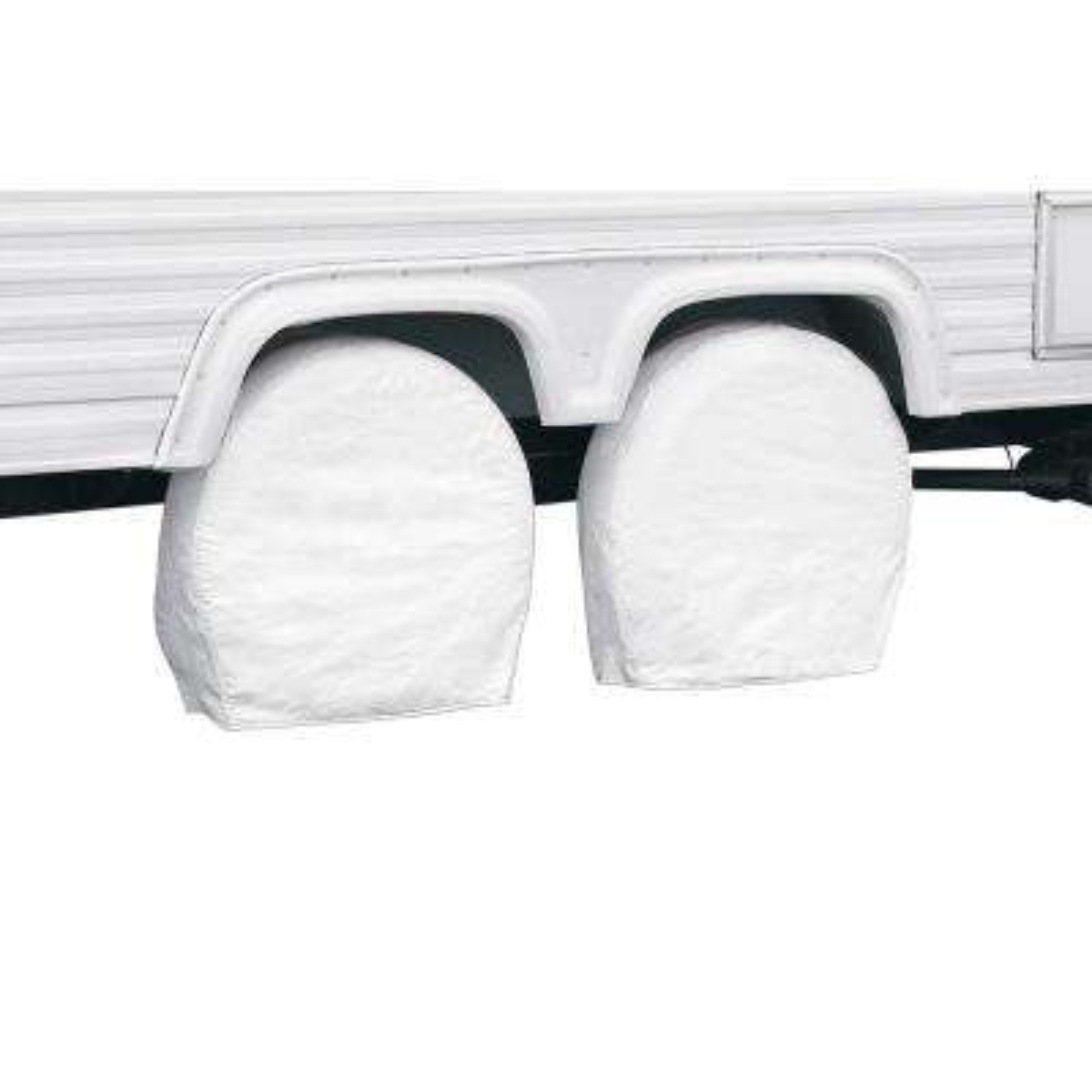 "White RV Wheel Cover, 37"" - 41"" Diameter (bus), 9.25"" Tire Width"