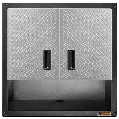 Steel 2-Shelf Wall Mounted Garage Cabinet in Hammered Granite (28 in W x 28 in H x 12 in D)