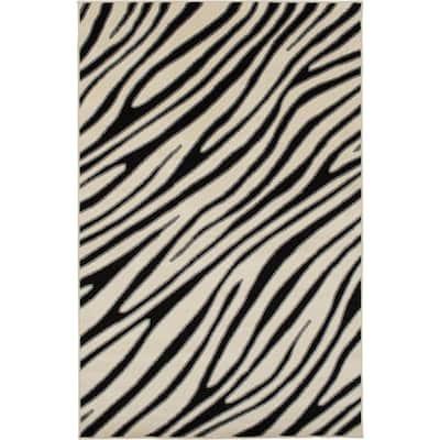 Patio Brights Snow/Stone 8 ft. x 10 ft. Wavy Stripes Polypropylene Indoor/Outdoor Area Rug