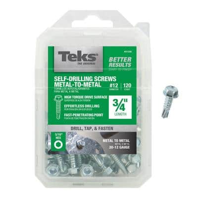 #12 x 3/4 in. External Hex Flange Hex-Head Self-Drilling Screws (120-Pack)