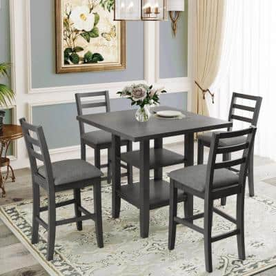 5-Piece Gray Wooden Counter Height Dining Set with 4-Padded Chairs and Shelves