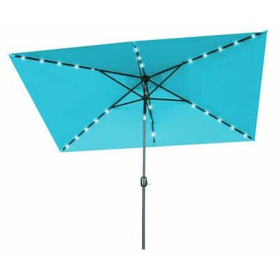 10 ft. x 6.5 ft. Rectangular Market Solar Powered LED Lighted Patio Umbrella in Peacock