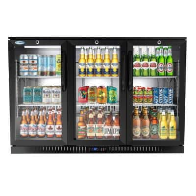 53 in. W 11 cu. ft. 3-Glass Door Counter Height Back Bar Cooler Refrigerator with LED Lighting in Black