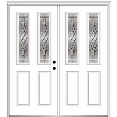60 in. x 80 in. Grace Left-Hand Inswing 2-Lite Decorative Primed Fiberglass Smooth Prehung Front Door, 4-9/16 in. Frame