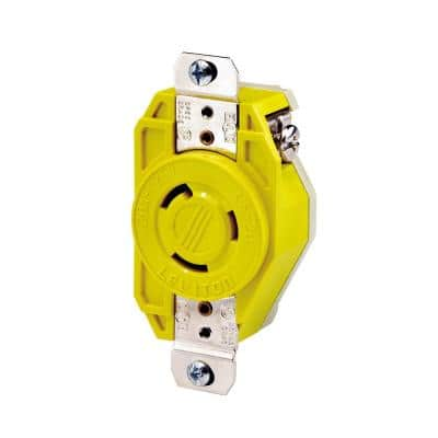 20 Amp 125-Volt Flush Mounting Locking Outlet Industrial Grade Grounding Corrosion Resistant, Yellow
