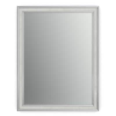 28 in. W x 36 in. H (M1) Framed Rectangular Standard Glass Bathroom Vanity Mirror in Chrome and Linen