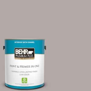 Behr Premium Plus 1 Gal N140 3 Metropolis Satin Enamel Low Odor Interior Paint And Primer In One 740001 The Home Depot