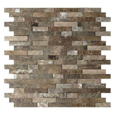 Bengal Brown 11.77 in. x 11.57 in. x 8 mm Stone Self-Adhesive Wall Mosaic Tile (11.4 sq. ft. / case)