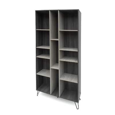 Imogen 77 in. Grey Oak Wood 13-Shelf Accent Bookcase