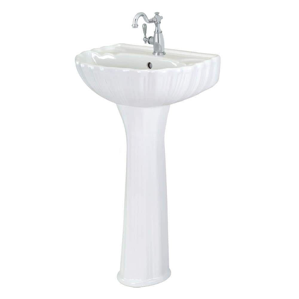 Foremost Brielle Pedestal Combo Bathroom Sink In White Fl 08a W The Home Depot