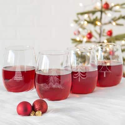 Holiday Trees 3 in. x 5 in. Clear Stemless Wine Glasses (Set of 4)