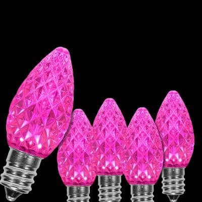 OptiCore C7 LED Pink Faceted Christmas Light Bulbs (25-Pack)