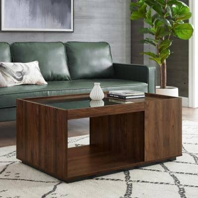 40 in. Dark Walnut Medium Rectangle Glass Coffee Table with Lift Top