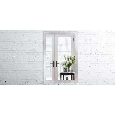 Medium Rectangle Matte Silver Modern Mirror (36 in. H x 24 in. W)