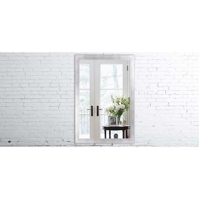 Medium Rectangle Matte Silver Modern Mirror (34 in. H x 30 in. W)