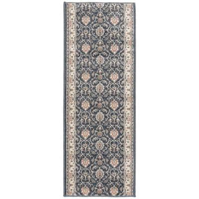 Stratford Adian Blue/Alabaster 33 in. x Your Choice Length Stair Runner