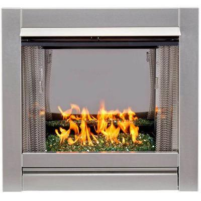 Duluth Forge Vent-Free Stainless Outdoor Gas Fireplace Insert With Emerald Green Fire Glass Media - 24,000 BTU