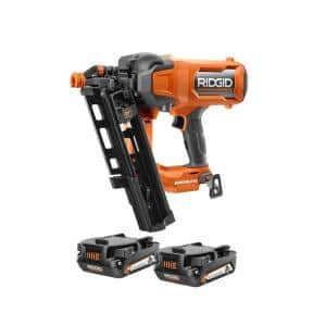 18V Lithium-Ion Brushless Cordless 21° 3-1/2 in. Framing Nailer with 18V Compact Lithium-Ion 2.0 Ah Battery 2-Pack