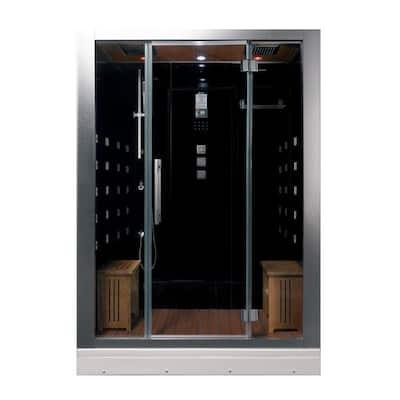 59 in. x 32 in. x 87.4 in. Steam Shower Enclosure Kit in Black
