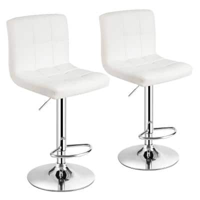 46 in. White Low Back Metal Adjustable Height Bar Stool with Leather Seat (Set of 2)