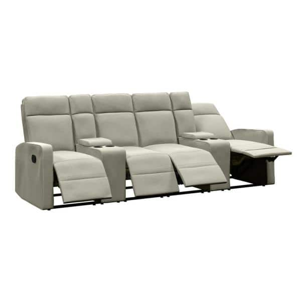 ProLounger 4-Seat Reclining Sofa 114 in. Wide with 2-Storage Consoles in Tan Chenille   The Home Depot