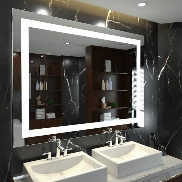 Kinwell 48 In W X 36 H Frameless, Home Depot Bathroom Mirror With Lights