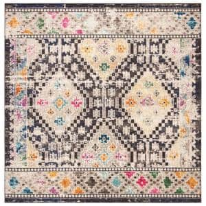Madison Black/Yellow 7 ft. x 7 ft. Square Area Rug