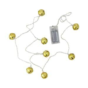 8 Battery Operated Gold LED Jingle Bell with Star Cut-Outs Christmas Lights - Clear Wire