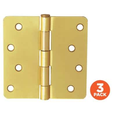 4 in. x 1/4 in. Radius Satin Brass Door Hinge Value Pack (3 per Pack)